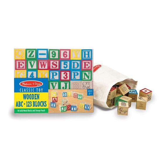 Wooden ABC:123 blocks