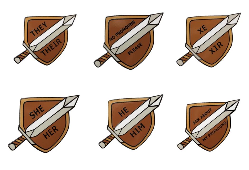 Sword and Shield Pronoun Pins